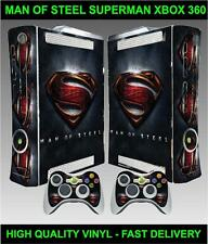 XBOX 360 CONSOLE STICKER SUPERMAN MAN OF STEEL SKIN & 2 CONTROLLER SKINS