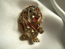 FUNKY COOL Vintage CHUNKY Gold CARTOON CHARACTER DANCING LION CAT Brooch 14BR090