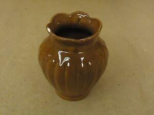 DWF Flower Vase 6in H x 5in W Brown Fluted Round Ceramic