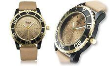NEW Geneva 62623416 Platinum Revive Womens Tan/Gold Watch W/ Fake Chronographs