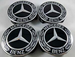 4x 75 mm Mercedes Benz Leichtmetall-Radkappen Abzeichen ALL BLACK Hub Emblem