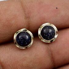 """Solid 925 Sterling Silver Blue Goldstone Studs Earrings Jewelry S 1/2"""" TA-432"""