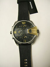 (M) DIESEL UBER CHIEF BLACK/GOLD CHRONOGRAPH WATCH LEATHER BAND DZ7377 NEW W/TAG