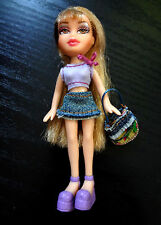 Bratz Mini Doll Long Blonde Hair Clothes Shoes Blue Denim Skirt Purple Crop Top