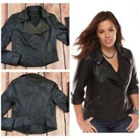 Rock & Republic Womens Faux Leather Moto Jacket Biker Studded Black Sz XS