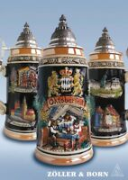 GERMAN BEER STEIN, 1 l pewter Panorama OKTOBERFEST multicoloured with lid NEW