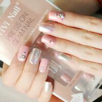 24Pcs Pink Fake Nails Short Square Full Cover Nail Art Acrylic False Nail Tips