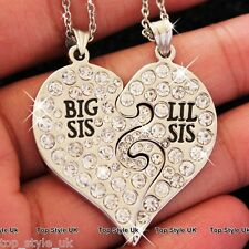 Two Part Crystal Heart Necklace for Sisters & Best Friends Lil Sis Big Sis Gift