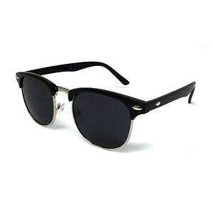 1950's Vintage Sunglasses Mens Womens Ladies Retro Classic Black Half Rimmed UV