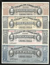 Rev. Mexico - Chihuahua - Set/4 - 1/5/10/20 Pesos - 1915 - All NIce Unc notes
