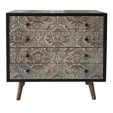 Retro Black 4 Drawer Wooden Chest of Drawers with Taper Legs & Damask Embossing