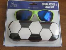 Boys Girls Green Sunglasses with Hard Case Soccer Theme New Sealed