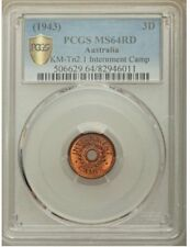 AUSTRALIA 1943 3 Pence Internment Camps Money PCGS MS64 RED, NICE MINT LUSTER !