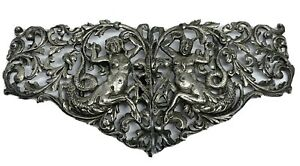 Edwardian 800 Silver Arabesque Figural Belt Buckle c.1900