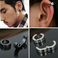 1Pc Punk Titanium Steel Men Round Clip on Ear Stud Earrings No Piercing Chic