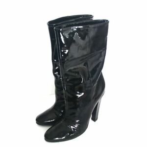 Jimmy CHOO Helena Black Patent Leather Mid Calf High Heel Booties Boots Size 39