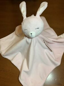 Rene Rofe Pink Velour Sleepy Bunny Baby Security Blanket Reverse is Striped New