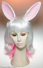 Wig Bunny Eared Pink & White Synthetic Hair Wig With Attached Rabbit Ears