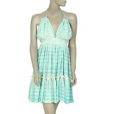 193101 New Sea Gypsies Rival Embroidered Ruffle Tie Dye Halter Mini Dress S