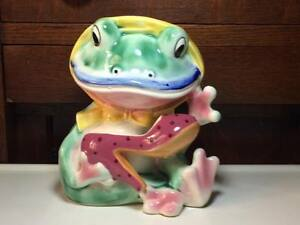 Vintage ceramic frog in a bonnet with a highheel shoe planter made in Japan