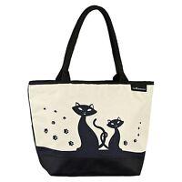 Tasche Shopper Freizeit Kätzchen Mädchen Casual creme Groß Schwarze Katzen