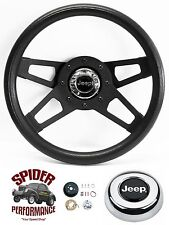 "1986-1995 Wrangler Commanchee steering wheel JEEP 13 1/2"" BLACK 4 SPOKE"