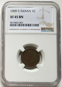 NGC-XF45 US 1909 S Indian 1 Cent