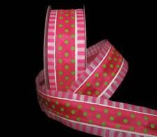 "5 Yards Carnival Pink Green Polka Dot Pink White Stripe Edge Wired Ribbon 1 1/2"""