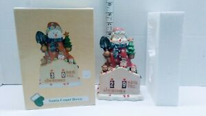 "Santa's Countdown Snowman Christmas Calendar Figure Ceramic Tree & Toys 7"" Tall"