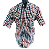 Carhartt Mens Medium Red White Blue Checked Short Sleeve Button Front Shirt