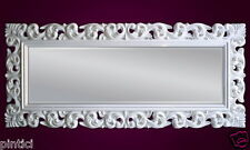 Großer Barock Wandspiegel Florenz 190x80cm Standspiegel Spiegel Weiß ornamente