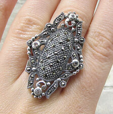 Fancy Cocktail Ring Sz 6 - Rg1971 925 Silver - Marcasite & White Cubic Zirconia