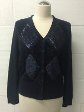 COUNTRY CASUALS women's knitted navy blue cardigan with removable collar size L