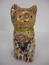 "GOLD PLATED CLOISONNE ENAMEL INLAY CAT KITTY FIGURINE 4"" TALL"