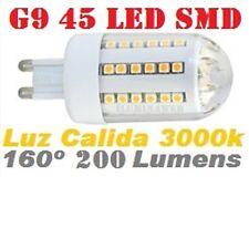 Bombilla G9, 45 LED SMD 160º 2W, LUZ CALIDA 3000K Clase A, Bajo Consumo