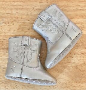 Nwt & Box Infant Small Frye Leather Rodeo Bootie, Gold, Size 3 (Fits 6-9 Months)