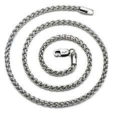 Amyrt Jewelry 4mm Titanio Acciaio grano argento catena collane per gli uomini &.