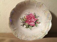 ANTIQUE LUSTRE BOWL FLORAL ROSES DECAL AIR BRUSH DESIGN GERMANY White / Pink