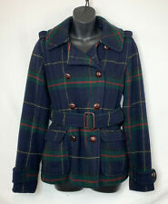 American Eagle Women's Wool Blend Tartan Plaid Peacoat! Liner Belt Buttons. Sz S