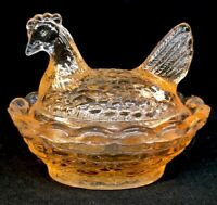 Boyd Art Glass Covered Rooster / Chick Salt   Peach # 121  Made 7-31-1991