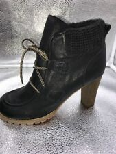 See by Chloe Sz 7 40 Black Leather High Heel Lace Up Ankle Boots Womens