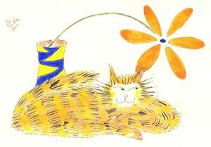 Original: Small artwork #cat #PeterBrighouseArtist