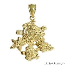 New 14k Yellow Gold Sea Turtle Sea Life Pendant