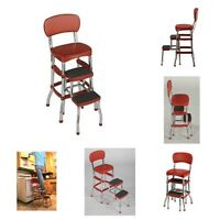 Retro Step Stool Red Folding Chair Kitchen Bar Seat Counter Top Office Furniture