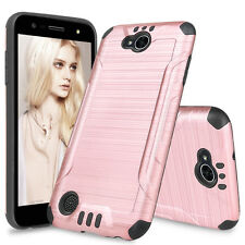 For LG X Charge Power 2 /Fiesta LTE Shockproof Armor Brushed Case+Tempered Glass