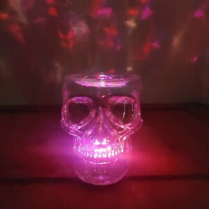 2021 Bath & Body Works Skull 3 Wick Glass Candle Holder lights up + gift great!