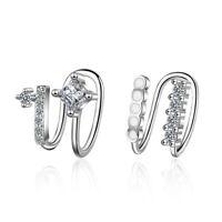 NEW Solid 925 Sterling Silver No piercing Crystal Ear Hoop Clip On Cuff Earrings