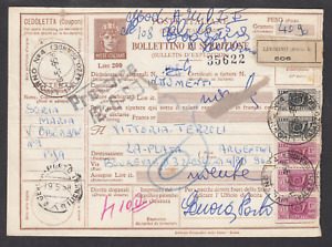 Italy H&G N110, 1958 200L brown Parcel Post Label uprated to 1090L, LIVORNO CDS
