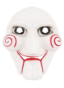 Adult JIGSAW FACE Mask Mens Evil Horror Clown Saw Halloween Costume Accessory UK