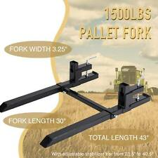 """43"""" 30"""" 1500lbs Clamp on Pallet Fork Stabilizer Bar Quick Attach Loader Tractor"""